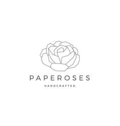 geometric paper flower rose logo icon line vector image