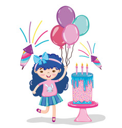 Girl birthday party cartoons vector