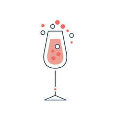 Glass of champagne or sparkling wine with bubbles vector