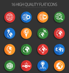 Globes 16 flat icons vector