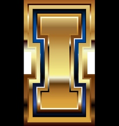 Golden font letter i vector
