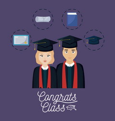 Graduation celebration card with couple and set vector