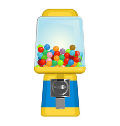gumball machine with square display in yellow and vector image