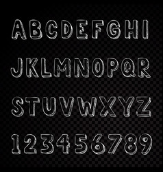 Hand drawn alphabet typography letters and numbers vector