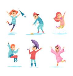 happy rainy kids water season characters playing vector image