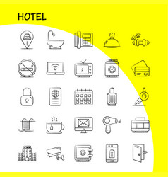 Hotel hand drawn icons set for infographics vector