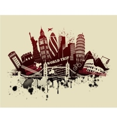 International sites in grunge vector