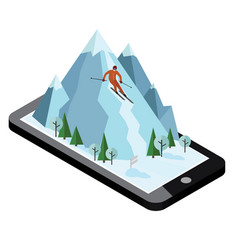 Isometric man pulls off the mountain vector
