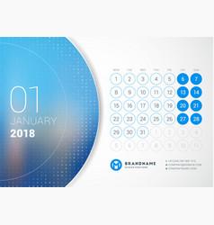 January 2018 desk calendar for 2018 year design vector