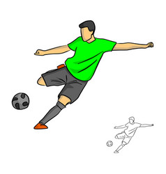 male soccer player shooting for a goal vector image