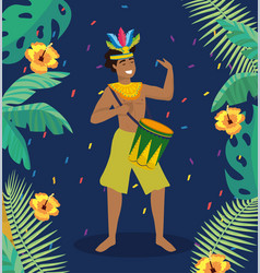 man musician with drum and traditional costume vector image