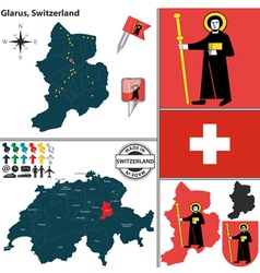 Map of Glarus vector image