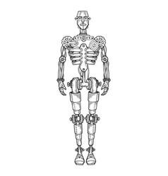mechanical human robot engraving vector image