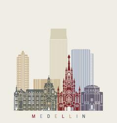 Medellin skyline in poster vector