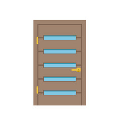 Modern wooden door with glass closed elegant door vector