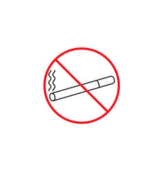 No smoking line icon red prohibited sign vector