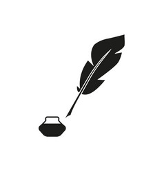 pen feather bottle icon vector image