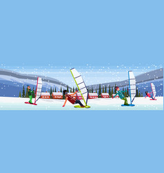 People windboarding windsurfing on frozen river vector