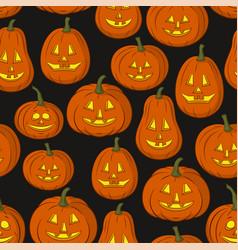 Pumpkins jack o lantern tile pattern vector