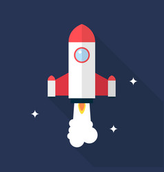 rocket icon set of great flat icons with style vector image