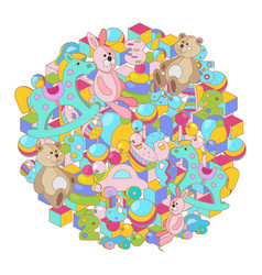 round colorful cartoon doodles baby toy vector image
