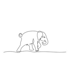 Running baby elephant continuous one line drawing vector