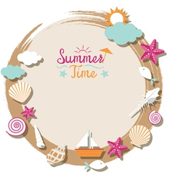 Sea Shell and Summer Objects Icons Wreath vector image