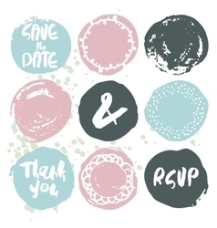 Set of 9 decorative wedding and romantic elements vector image