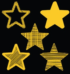 Set Of Hand Drawn Scribble Gold Stars Icon Set 3 vector