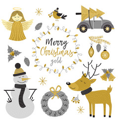 Set of isolated christmas gold characters vector