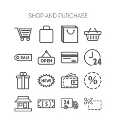 Set of simple icons for shop market bank vector