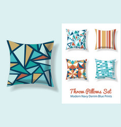 set throw pillows in matching unique vintage vector image