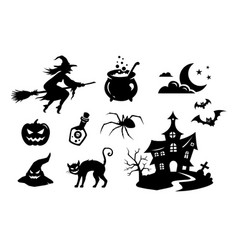 Silhouettes monsters elements for halloween vector
