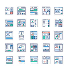 site flow wire frame ui kits flat icons pack vector image