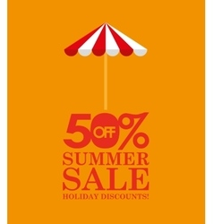 Summer sale 50 discounts with umbrella vector