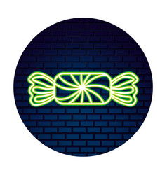 Sweet candy confetionery neon wall brick vector