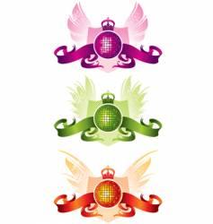 Three disco balls with ribbons vector