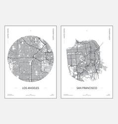 Travel poster urban street plan city map los vector