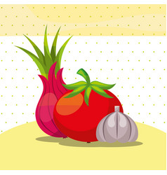 vegetables fresh organic healthy onion tomato vector image