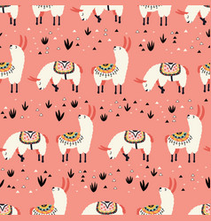 white llamas in a pink desert vector image