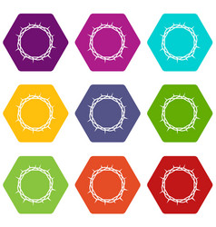 crown of thorns icon set color hexahedron vector image vector image