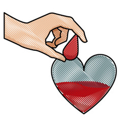 drawing hand holding drop blood heart donation vector image vector image