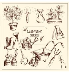 Gardening Sketch Set vector image