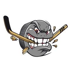 Hockey puck bites vector image