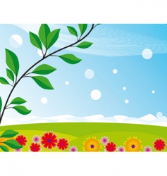landscape with a blooming meadow vector image vector image