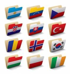 world folders icons vector image