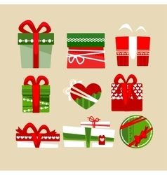Christmas gift boxes icons set for holidays vector image vector image