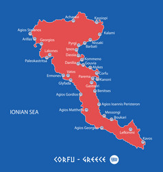 island of corfu in greece red map vector image