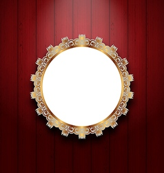 Ornate picture frame on wooden wall vector image vector image