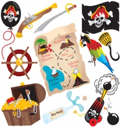 pirate birthday party icons vector image vector image